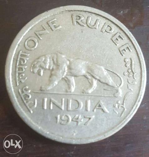 1947 silver 1 rupee India rare coin