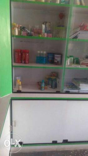 3 sides cupboards with full glass work and counter