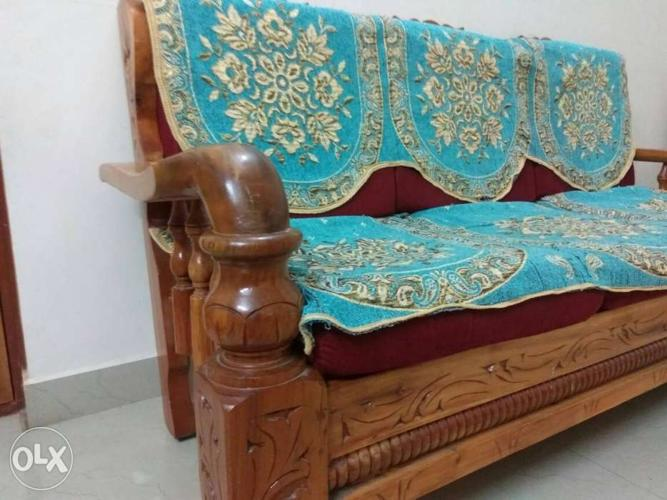 3 Year Old Assam Teak Wood 3 1 1 Sofa Set Made For Sale In