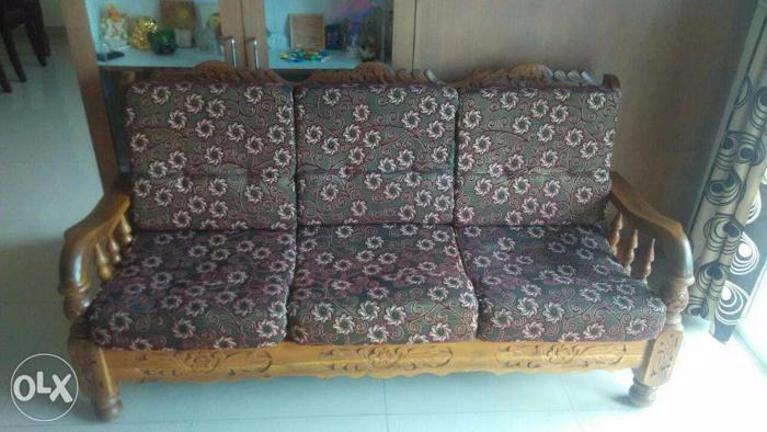 Assam Teak Wood 3 2 Seater Sofa Set For Sale For Sale In