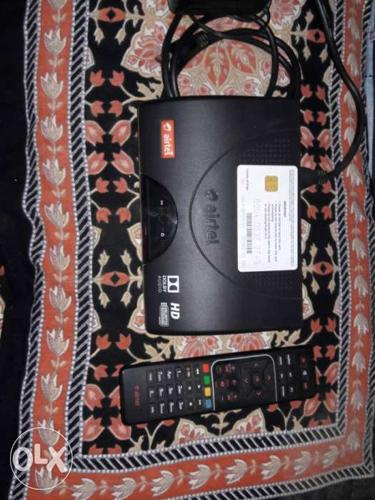 Black Airtel TV Box With Remote Control with Dish