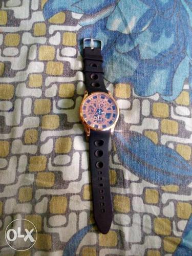Black Brown Analog blue radiam Watch