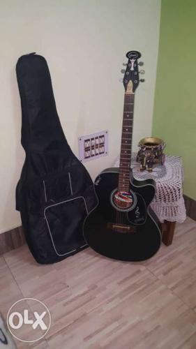 Black Cutaway Acoustic Guitar With Gig Bag