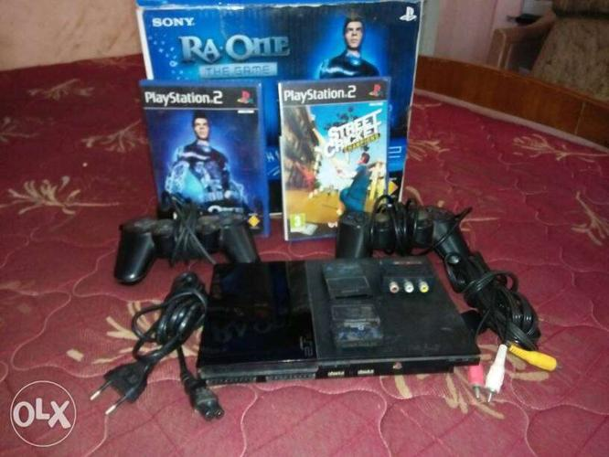 Black Sony Ps2 Game Console Set
