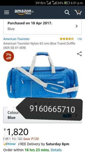 Blue And Black American Tourister Nylon Duffle Bag
