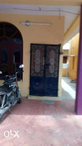 Blue Metal Wrought Iron French Door