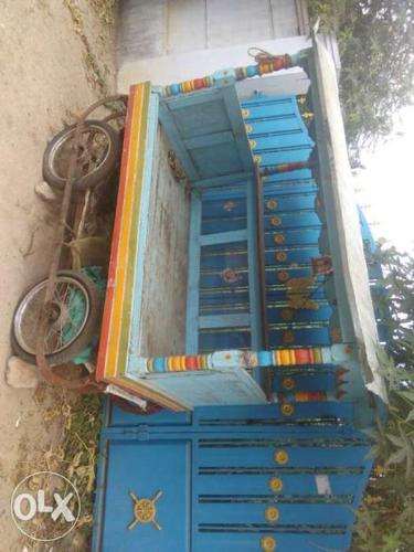Blue, White, And Brown Food Cart