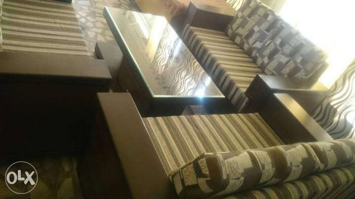Brown-beige Stripe Sofa Set