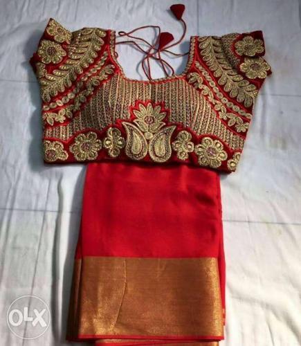 Brown And Red Floral Cap Sleeve Crop Top