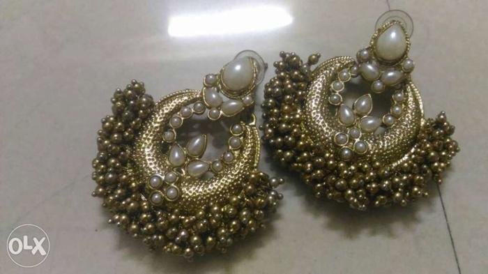 Brown And White Beaded Chandelier Earrings