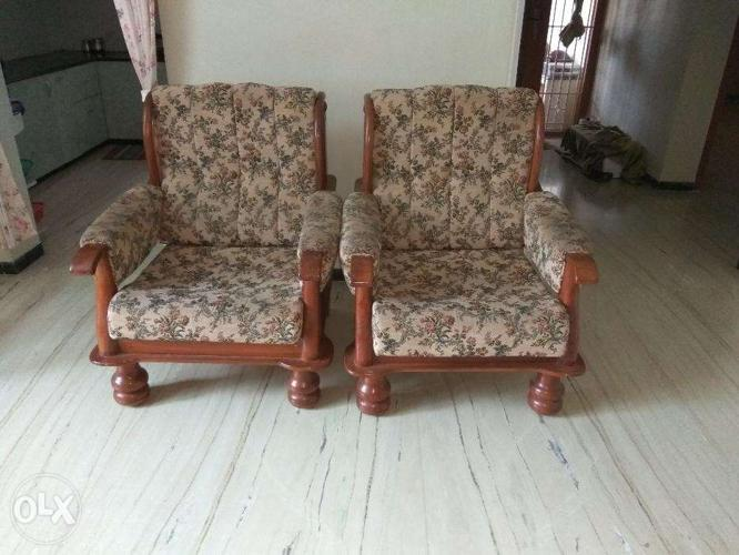 Brown Color Teak Wood Sofa 2 Single Sofas For Sale In Coimbatore