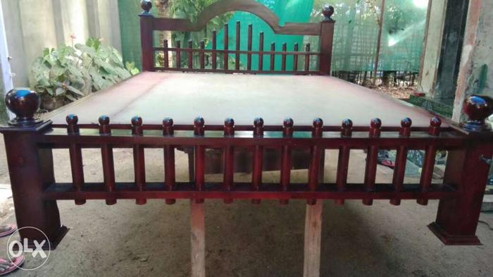 Brown Wooden Bed Frame