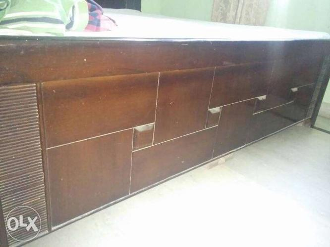 Brown Wooden Double-Bed, 2years old + Mattresses