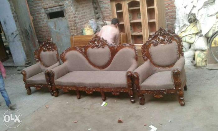 Brown Wooden Frame Gray Padded Sofa Set