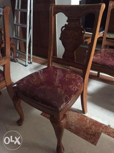 Brown Wooden Framed Red Floral Padded Chair