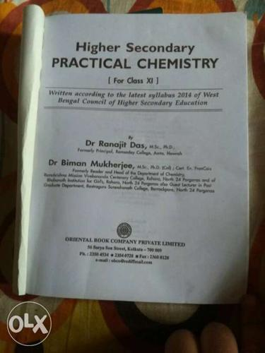 Chemistry practicals book for class 11 wb board for Sale in