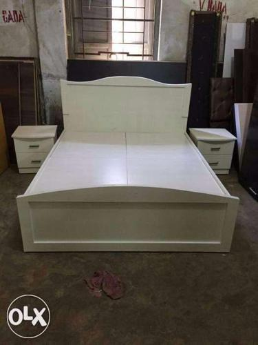 Fresh white colour Bed with storage.