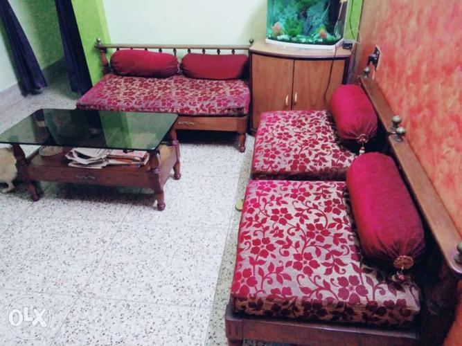 Full Shegun Wood Rajasthani Sofa Set With Shegun For Sale