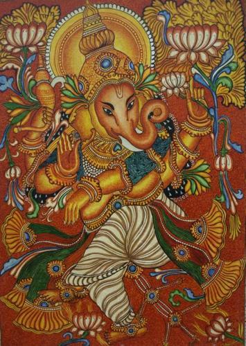 Ganesha kerala mural painting for sale in kochi kerala for Mural ganesha
