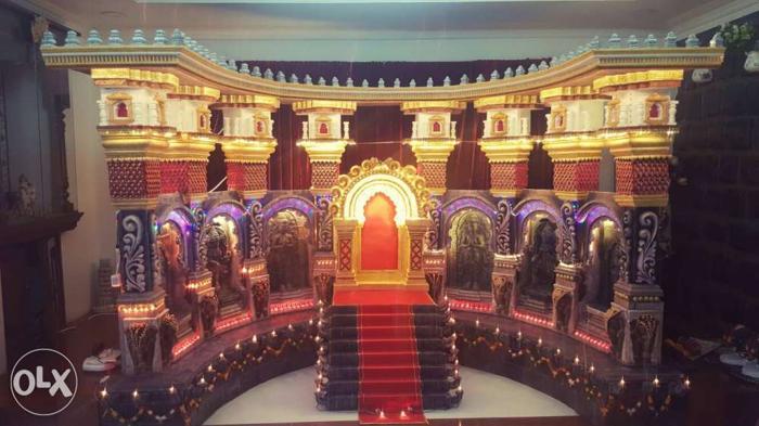 Ganpati Decoration. Size- 8 ft L × 4.5ft W × 5