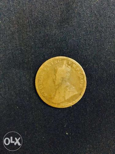 George V King emperor 1 rupee indian 1918 coin.