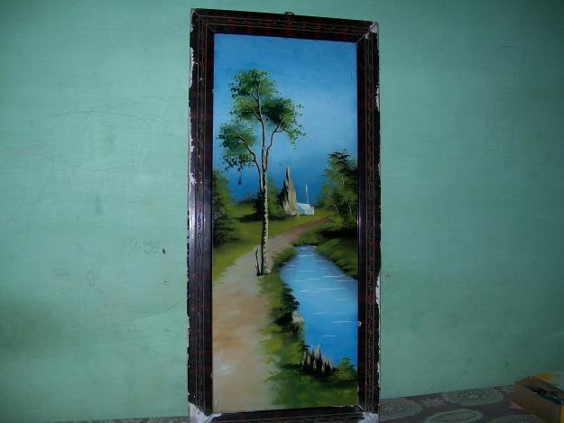 glass painting natural scenery pond and tall tree for