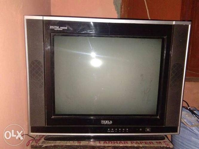Gray Widescreen CRT Television