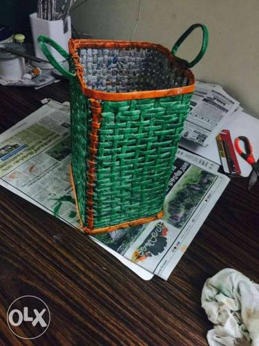 Green And Brown Wicker Basket