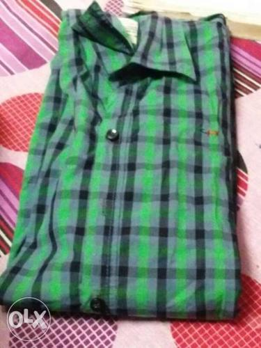 Green Black And Grey Plaid Dress Shirt