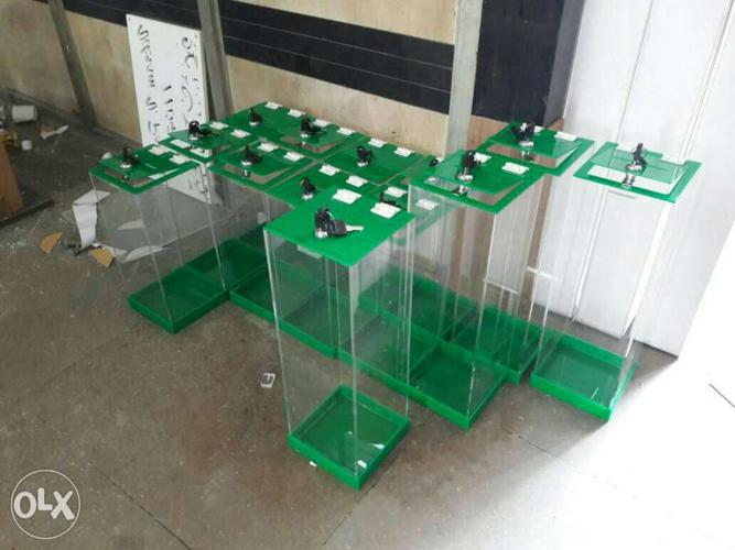 Green Framed Acrylic Container Lot