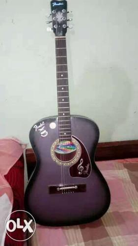 Grey And Black Acoustic Guitar