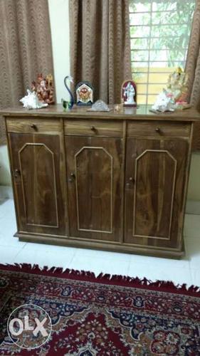 High quality teak wooden living room shelve