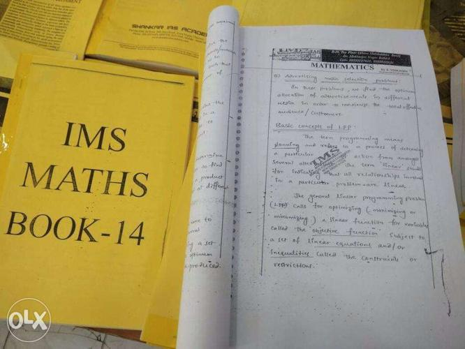 IAS mathematics optional notes of IMS academy DELHI