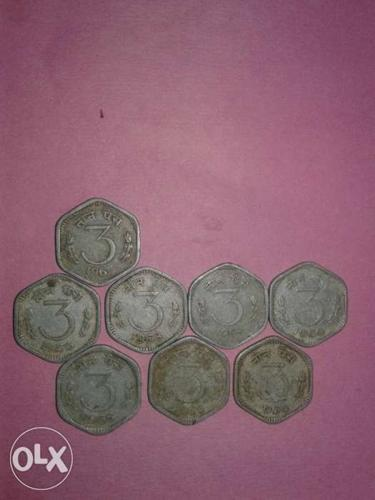 India 3 paisa Coins