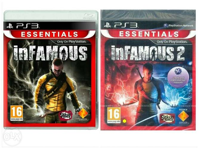 Infamous 1 and 2 Play station 3 - Ps3 game cases.