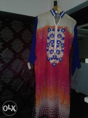 Its only embroidid long unstiched kurti pc.