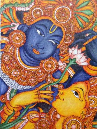 Kerala mural painting oil paintings pot paintings with for Ananthasayanam mural painting