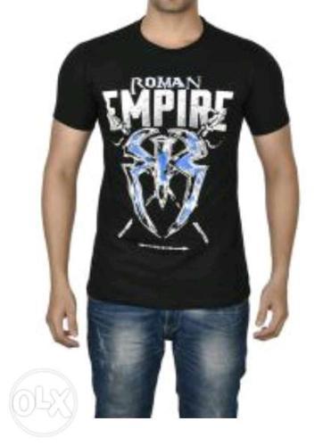 Men's Black Crew-neck Roman Empire Print T-shirt And