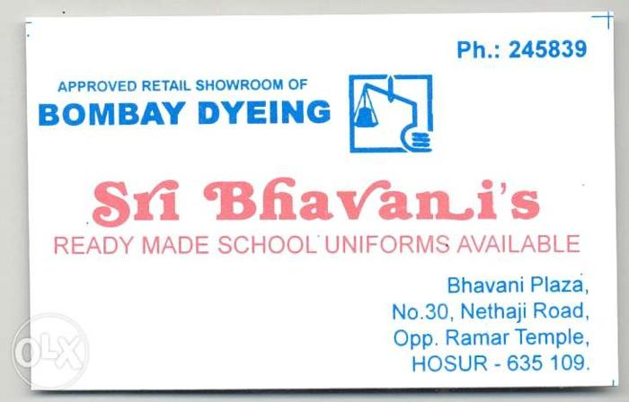 Need Sales boys/girls for Bombay Dyeing Hosur