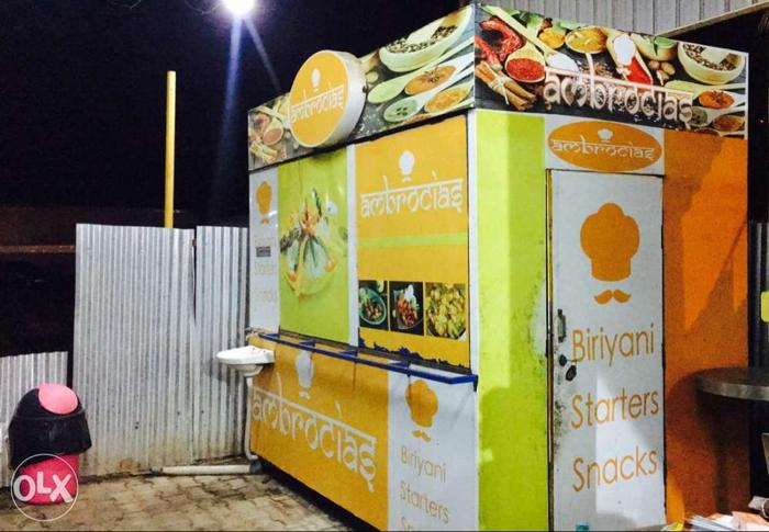 Orange And Green Printed Food Stall