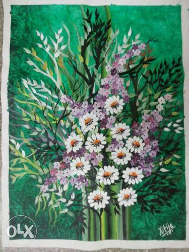 Painting Of White And Purple Petaled Flowers