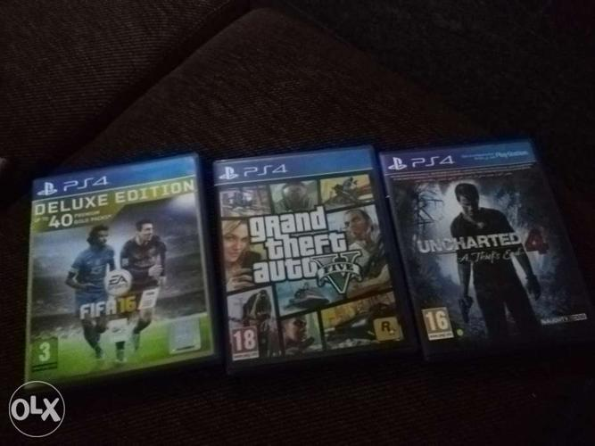 PS4 Games- Uncharted 4. GTA 5. Fifa 16