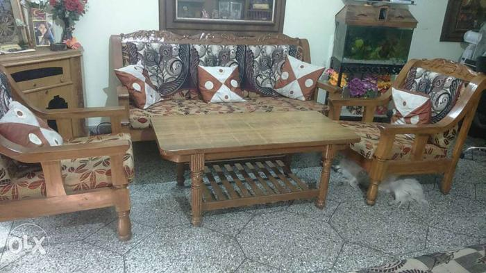 Pure Teak Wood Sofa Set 5 Seater In A Good For Sale In Kurnool
