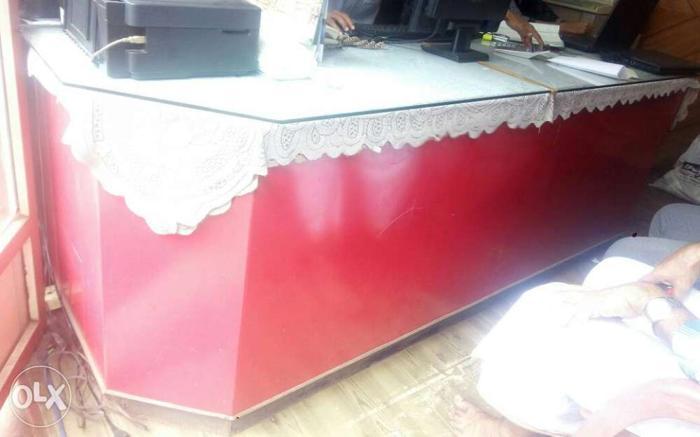 Rectangular Red Sectional Wooden Desk