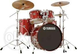 Red-and-brown Yamaha Drum Set