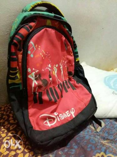 Red, Black And Green Disney Print Backpack