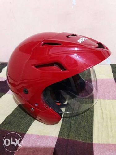 Red Open Face Helmet