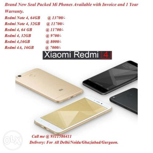 Redmi 4/Note 4/Redmi 4A All mi phones Available