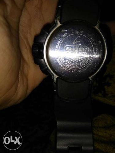 Round Casio G-Shock Watch With Black Sports Band