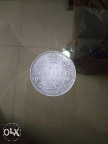 Round One Rupee Indian 1909 Coin